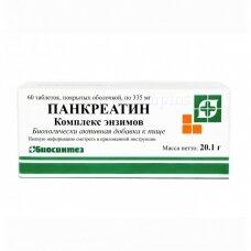 Pankreatinas  po 335 mg. 60 tablečių